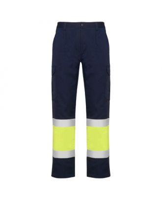 Pantalon haute visibilité multipoches d´été NAOS marine / jaune fluo
