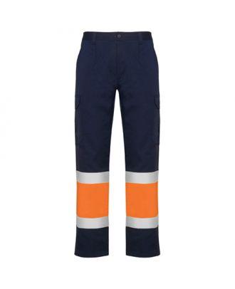 Pantalon haute visibilité multipoches d´été NAOS marine / orange fluo
