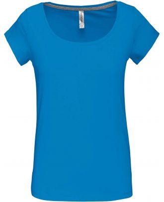 T-shirt femme col bateau manches courtes K384 - Tropical Blue