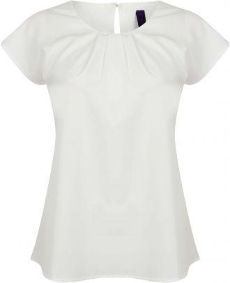 Top femme col plissé H597 - White