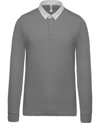 Polo rugby K213 - Light Grey / White