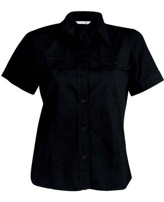 Chemise manches courtes femme popeline Tropical Lady K572 - Black