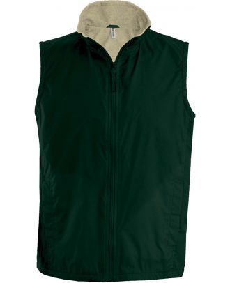 Bodywarmer doublé polaire Record K679 - Forest Green / Beige