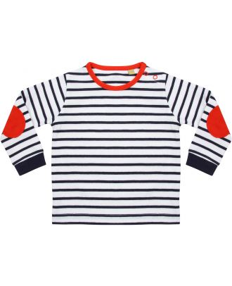 T-shirt bébé manches longues à rayures LW028 - Navy / White