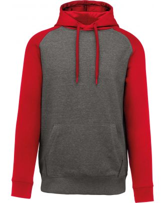 Sweat-shirt enfant bicolore capuche PA370 - Grey Heather / Sporty Red