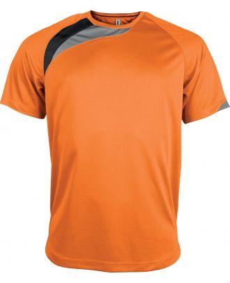 T-shirt unisexe manches courtes sport PA436 - Orange / Black / Storm Grey