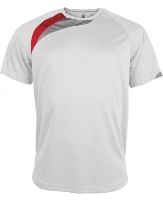 T-shirt unisexe manches courtes sport PA436 - White / Sporty Red / Storm Grey