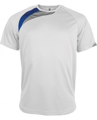 T-shirt unisexe manches courtes sport PA436 - White / Sporty Royal Blue / Storm Grey