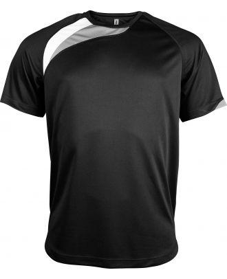 T-shirt sport enfant manches courtes PA437 - Black / White / Storm Grey