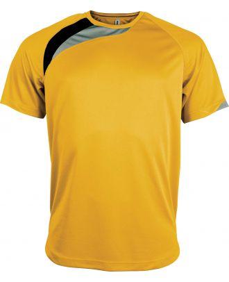 T-shirt sport enfant manches courtes PA437 - Sporty Yellow / Black / Storm Grey
