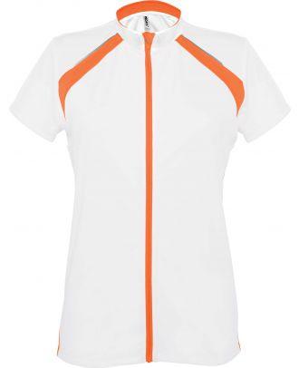 Maillot cycliste femme zippé manches courtes PA448 - White / Orange -