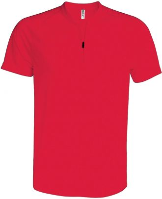 T-shirt 1/4 zip manches courtes unisexe PA486 - Red