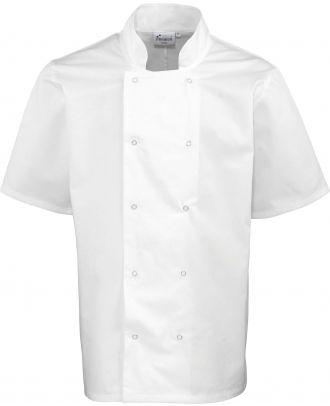 Veste de cuisine manches courtes à boutons pression PR664 - White