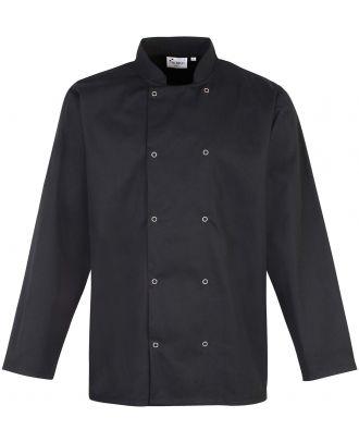 Veste de cuisine manches longues à boutons pression PR665 - Black