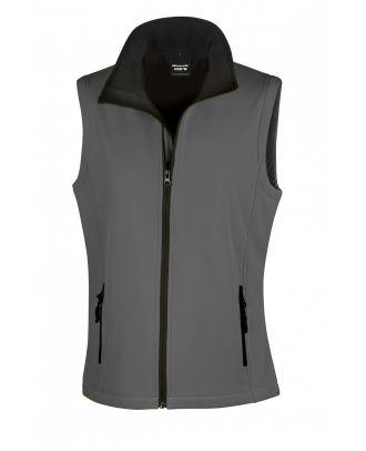 Bodywarmer Softshell Femme Printable R232F - Charcoal / Black