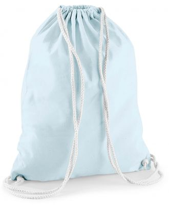 Gymsac en coton W110 - Pastel Blue / White - 37 x 46 cm de dos