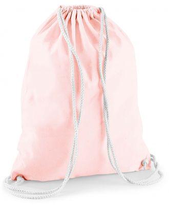 Gymsac en coton W110 - Pastel Pink / White - 37 x 46 cm de dos